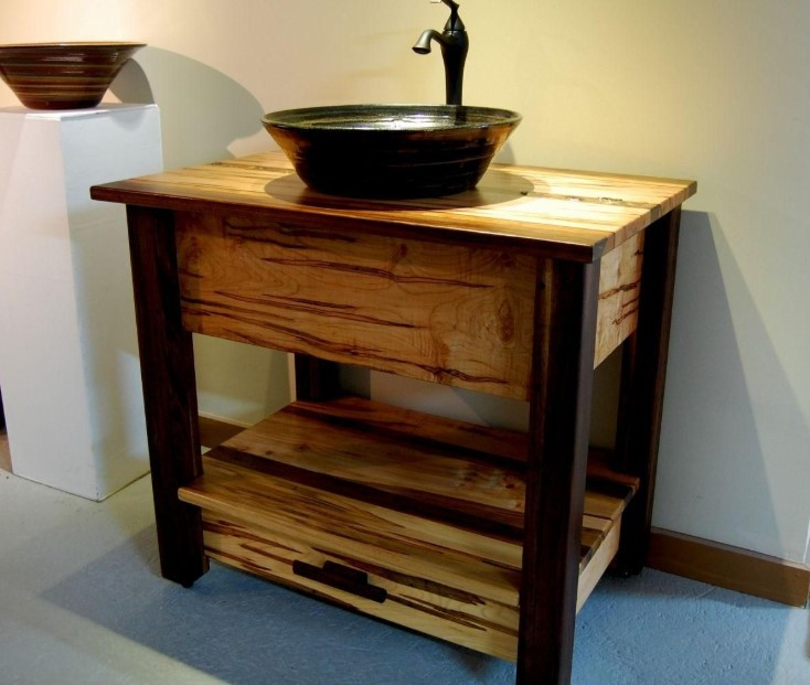 Black Bowl Rustic Sink Bathroom Vanity