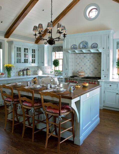 Blue hued kitchen cabinets