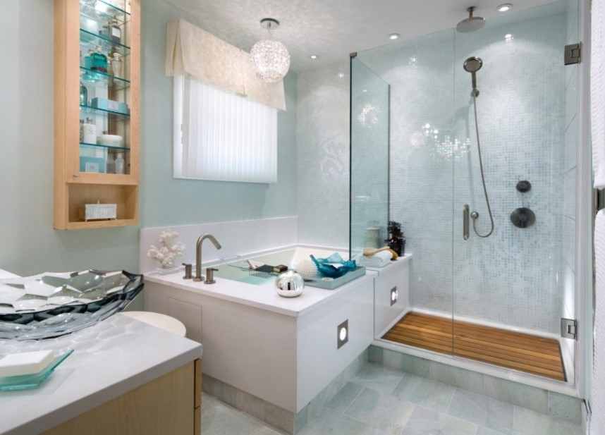 Bluish doorless shower ideas