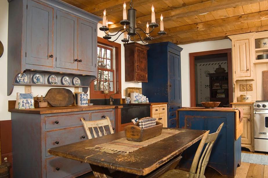 Bluish-grey Rustic Kitchen Cabinets