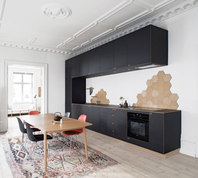 Bluish one wall kitchen layout