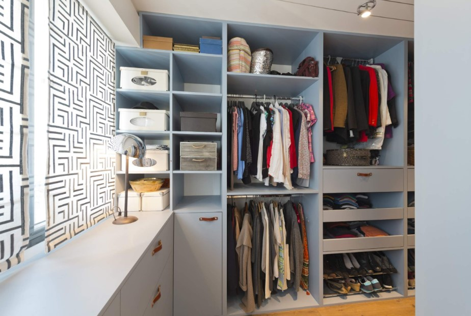 Bluish walk in closet
