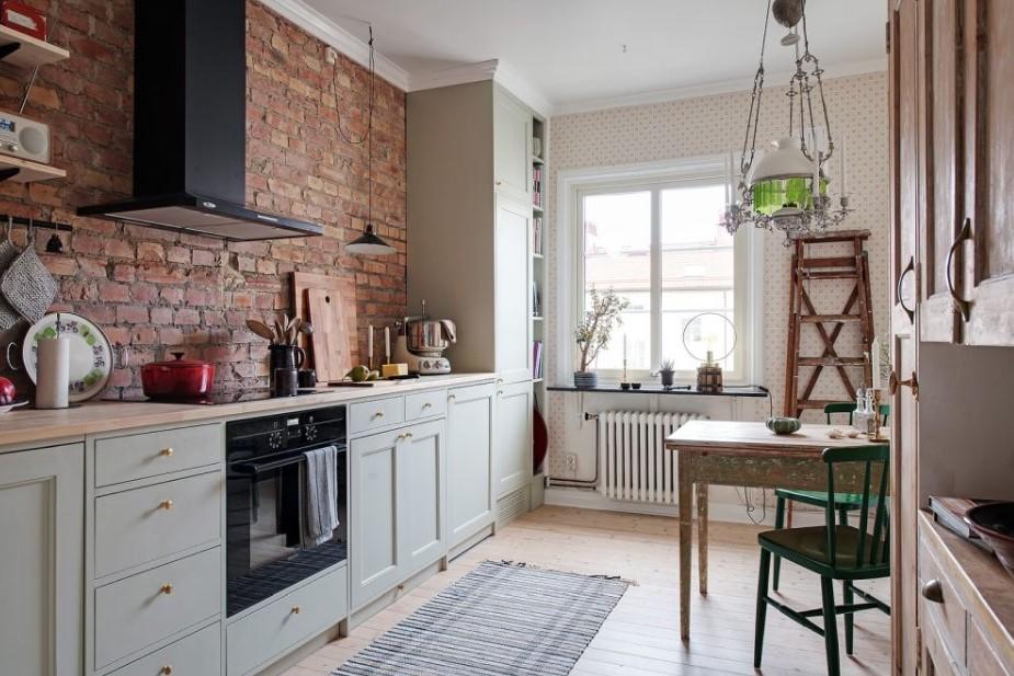 Brick wall kitchen layout