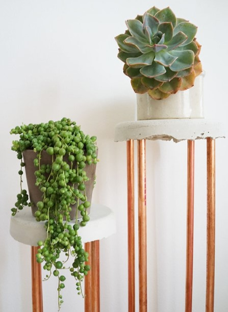 Cement And Copper Plant Stand