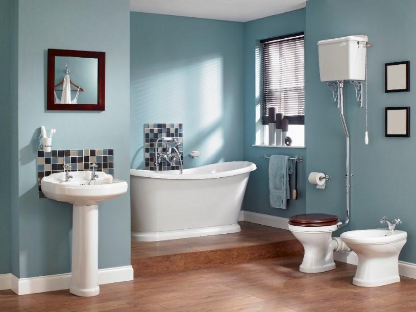 Coastal blue farmhouse bathroom ideas