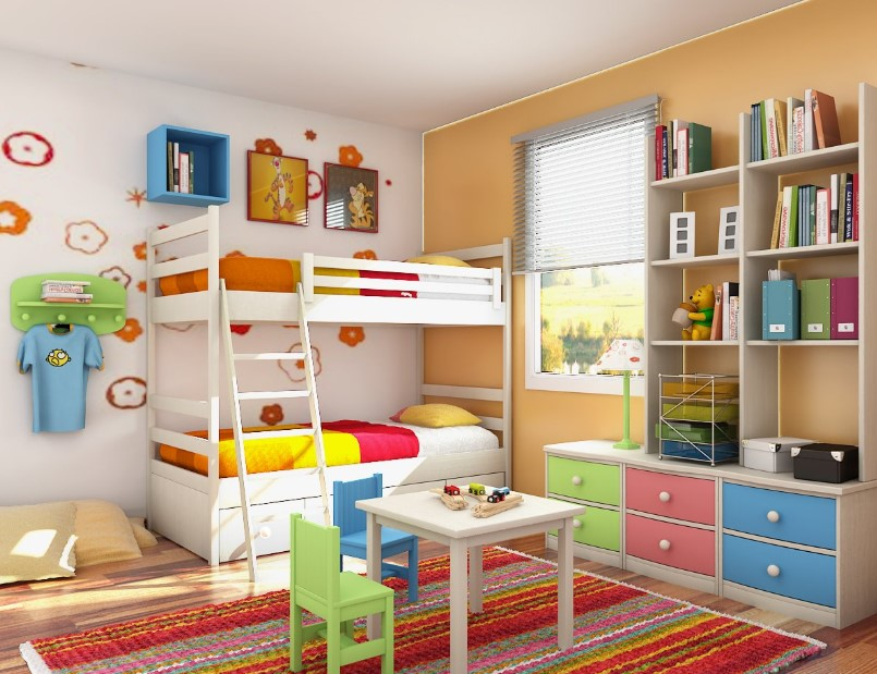 Colorful Kids Bedroom with Bunk Bed