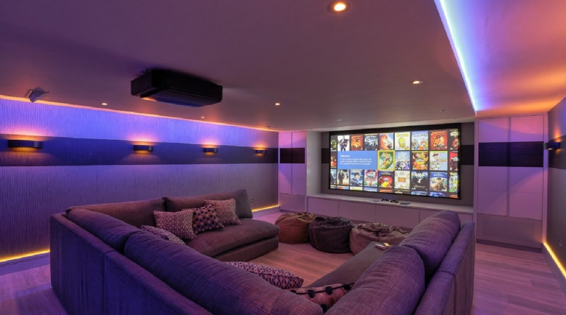 Comfortable Theater with Soft Purple Glow
