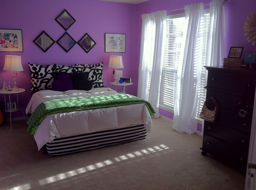 Contemporary Bedroom with Purple Walls