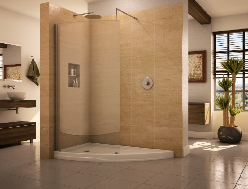Contemporary doorless shower