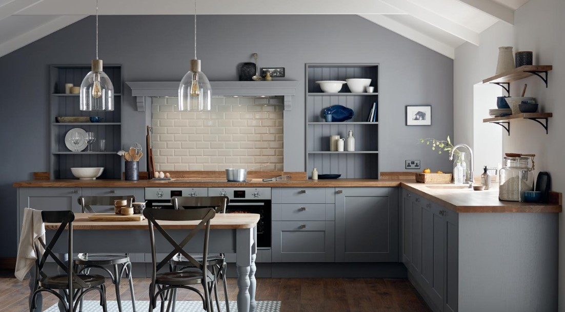 Cottage Style Grey Kitchen Cabinets