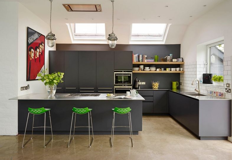 Dark Grey in Open Kitchen