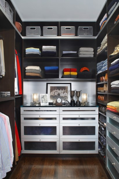 Dark brown walk in closet