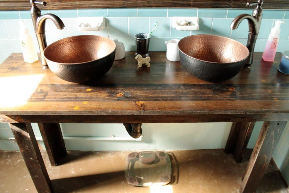 Double Sink Bowl Rustic Bathroom Vanity