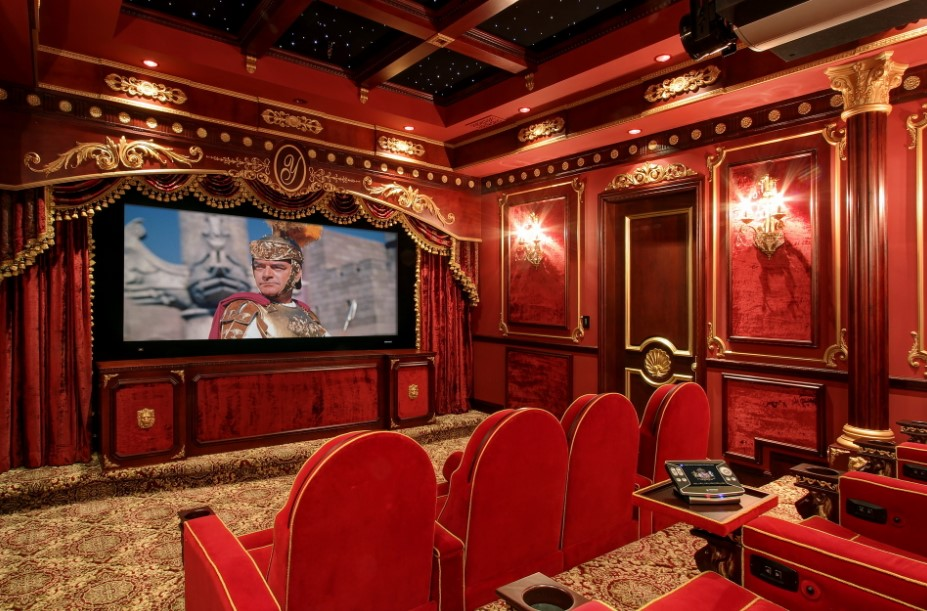 Ethnic Red Home Movie Theater