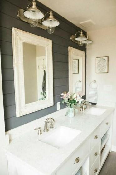Farmhouse Bathroom in golden lighting
