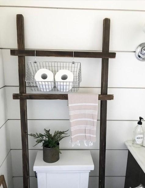 Unique Farmhouse Bathroom with rustic ladder