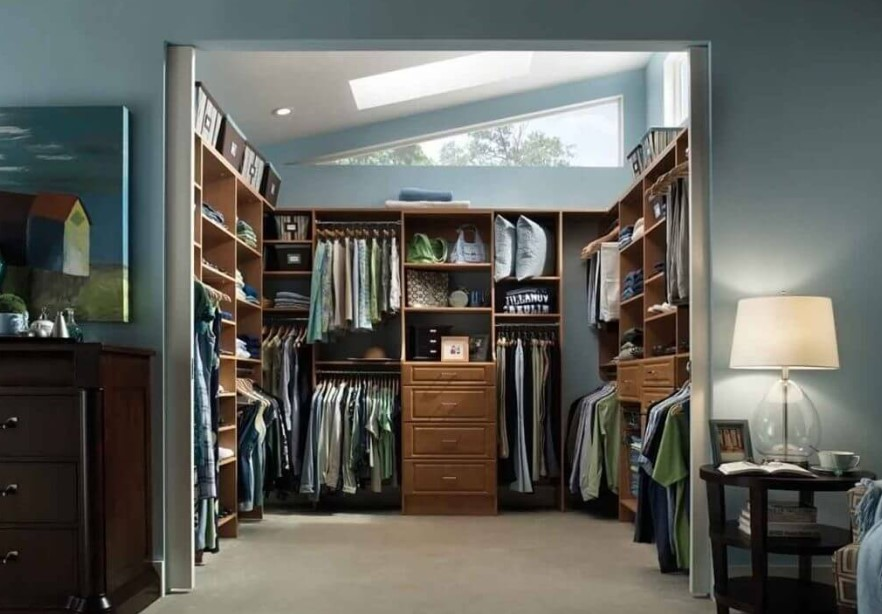 Green tone of walk in closet
