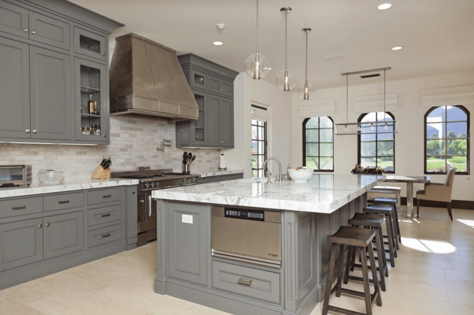 Grey Kitchen with Big Island
