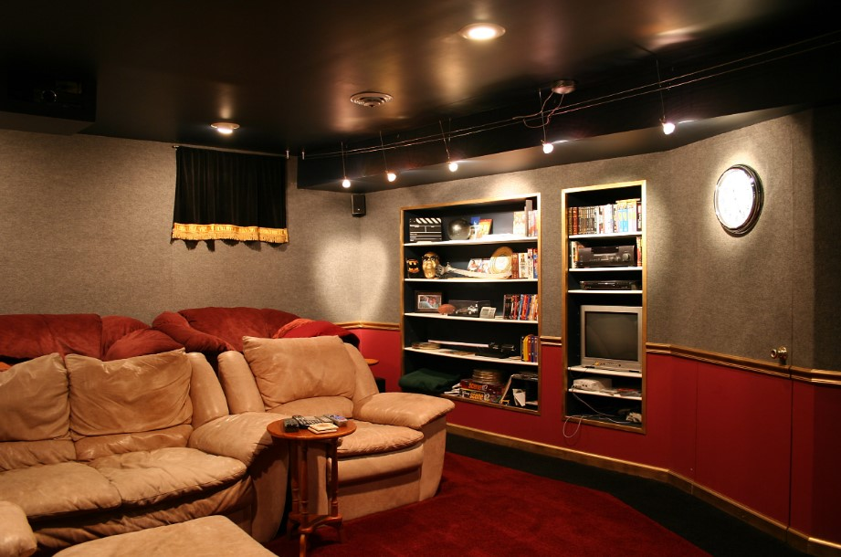 Home Movie Room with Cozy Bulky Armchairs