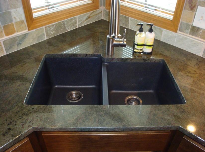 Corner Kitchen Sink with Granite Top