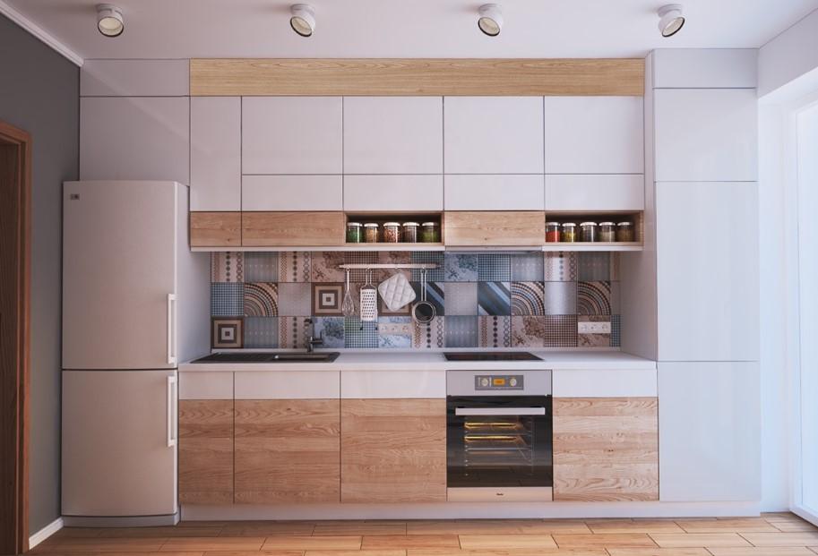 Kitchen with patterned tiles for backsplash
