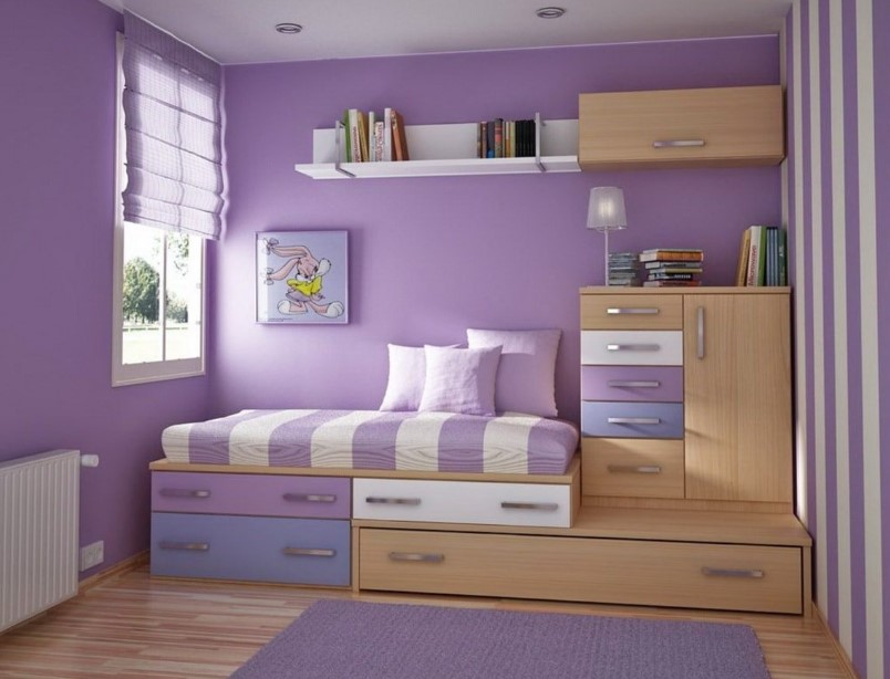 Lilac and White Kids Bedroom