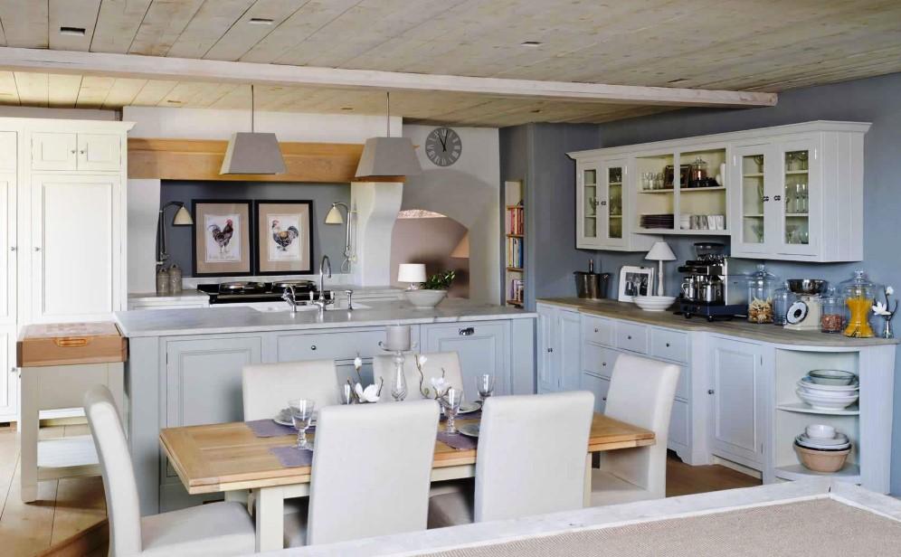 Lived in Bluish Grey Kitchen Cabinets
