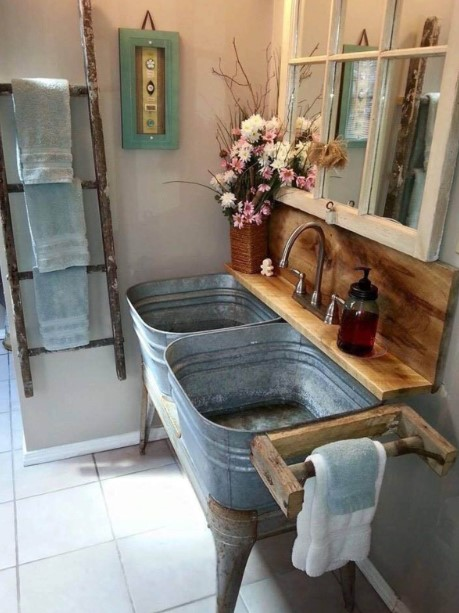 Rustic Metal Bucket Bathroom Vanity