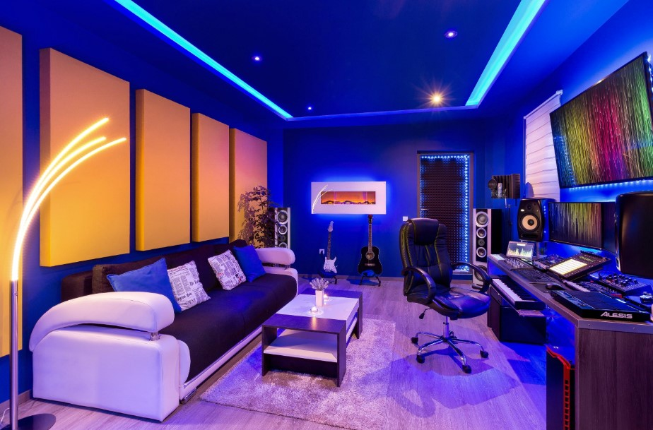 Modern Movie and Music Room