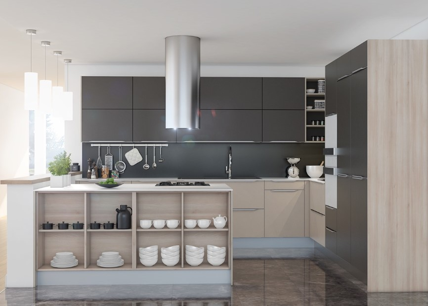Modern and Sleek Grey Kitchen Cabinets