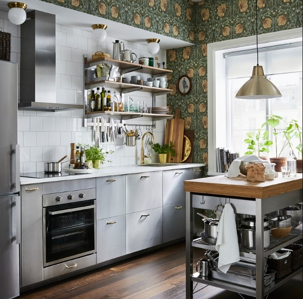 Narrow Kitchen with Artsy Tiles