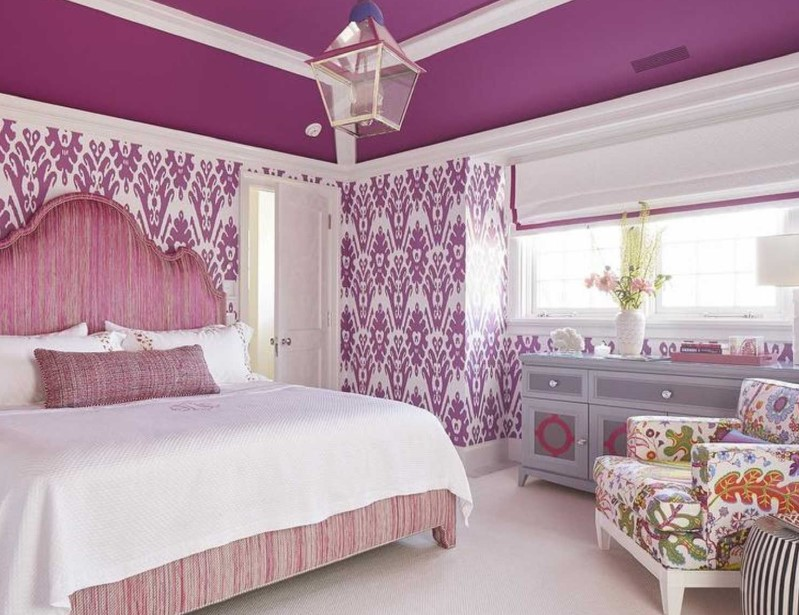 Patterned Bedroom with Purple Color Scheme
