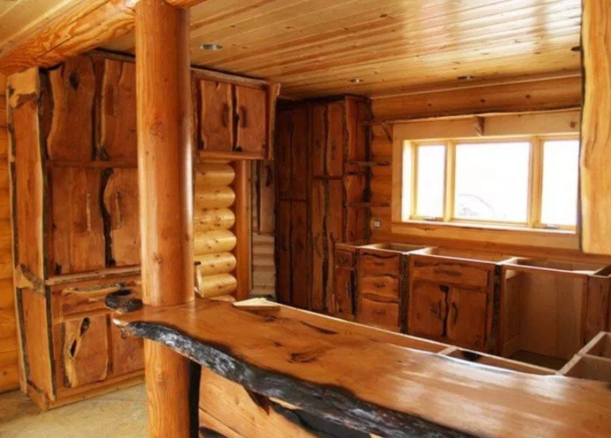 Rustic Cabinets With Wooden Countertop