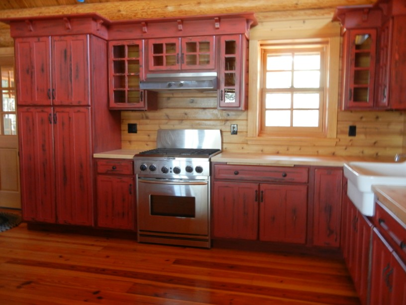 Rustic Red Kitchen Cabinet