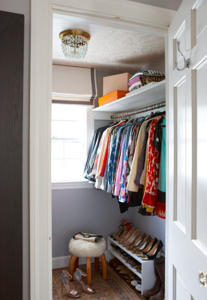 Small walk in closet with window