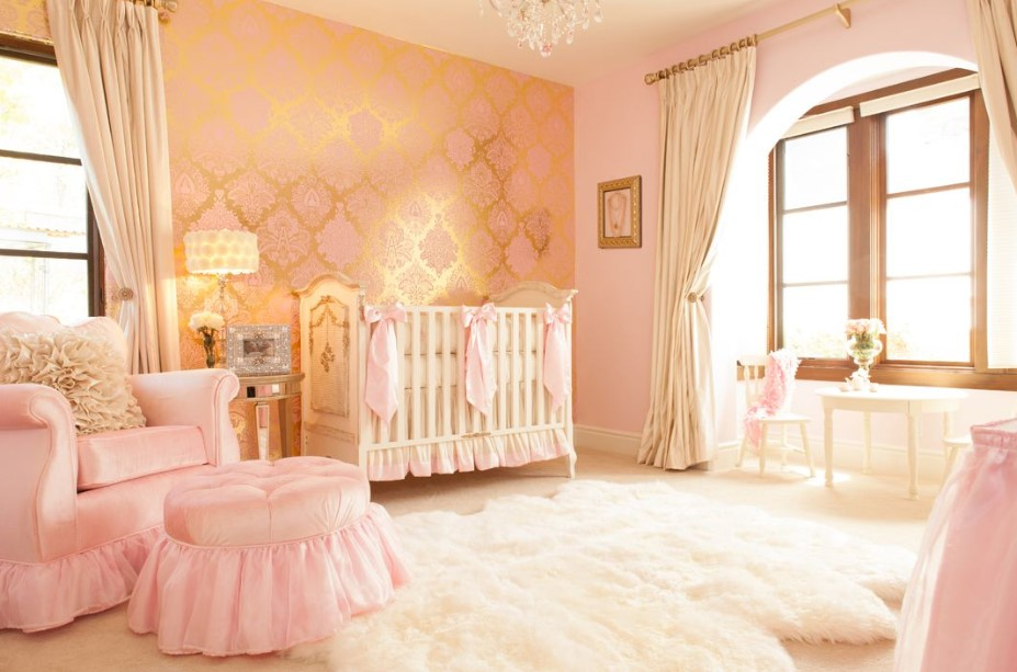 Soft pink baby girl bedroom