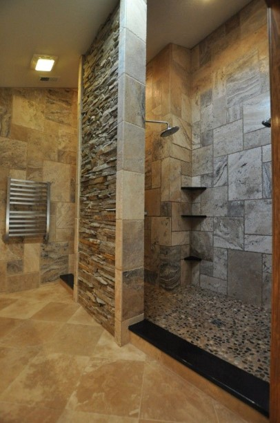 Stone-wall doorless shower