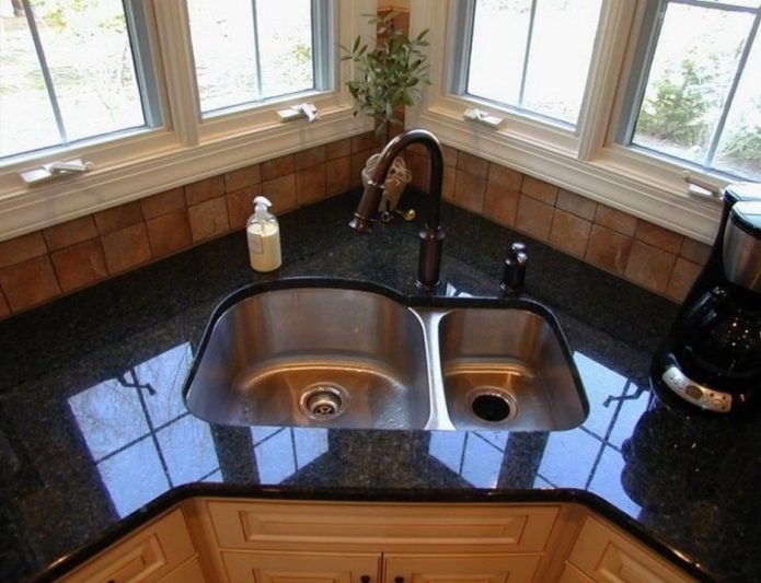 The Double Bowl Corner Kitchen Sink