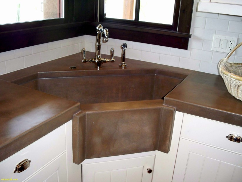 The Rustic-Styled Corner Kitchen Sink