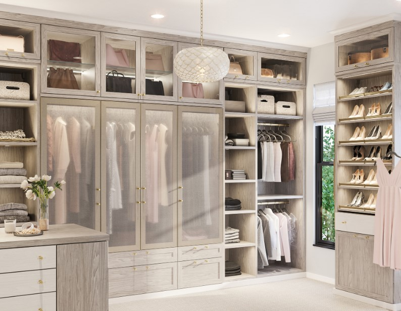 The neutral tone walk in closet