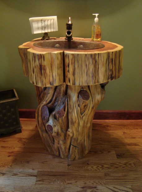 Tree Log Rustic Bathroom Vanity