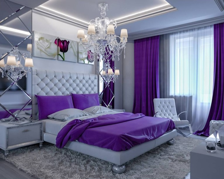 Violet and White Master Bedroom