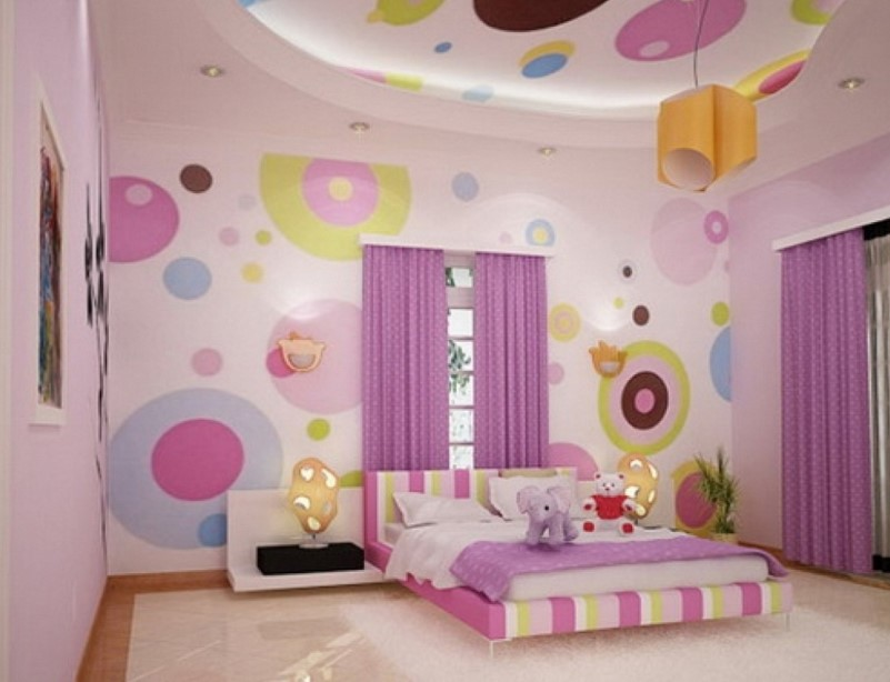 Whimsical Purple and Pink Kids Bedroom