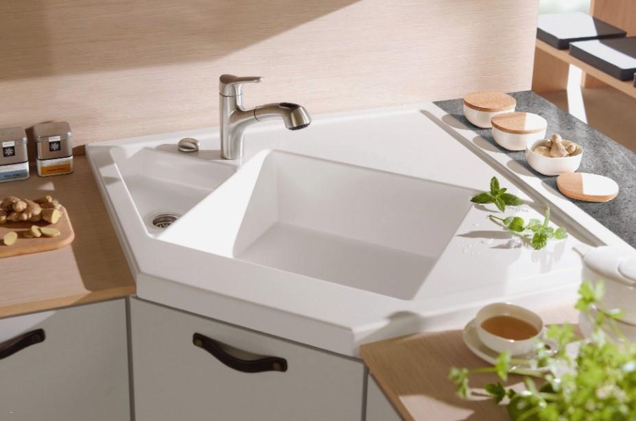 White Ceramic Cornet Kitchen Sink