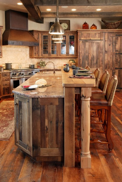 Wood paneled kitchen cabinets