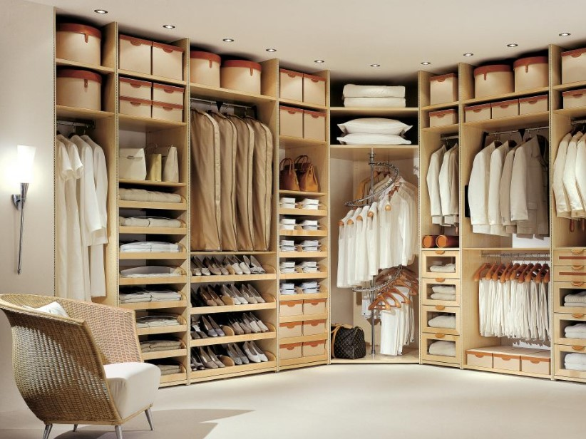 Wood-tone walk in closet