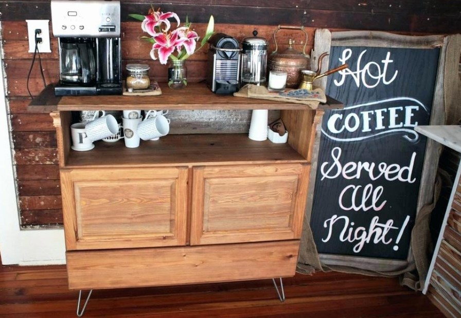Wooden Desk Coffee Station